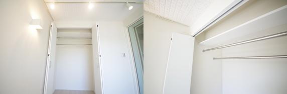 収納上部に小物用の棚を新設